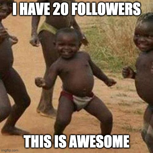 yay |  I HAVE 20 FOLLOWERS; THIS IS AWESOME | image tagged in memes,third world success kid | made w/ Imgflip meme maker