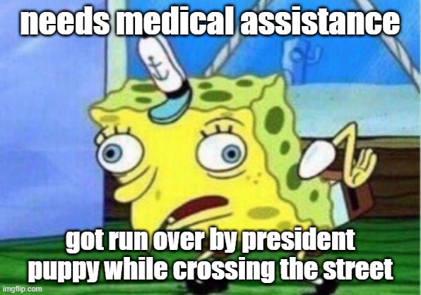 Mocking Spongebob |  needs medical assistance; got run over by president puppy while crossing the street | image tagged in memes,mocking spongebob | made w/ Imgflip meme maker