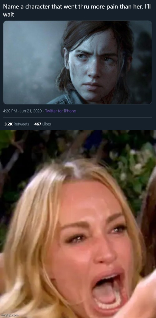 name a character that went thru more pain than her | image tagged in woman yelling at cat,name a character,memes,funny | made w/ Imgflip meme maker