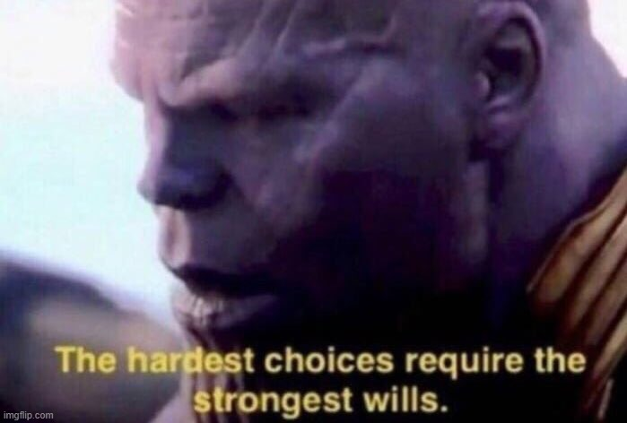 The hardest choices require the strongest wills | image tagged in the hardest choices require the strongest wills | made w/ Imgflip meme maker
