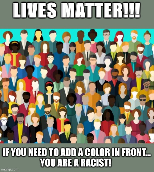 Lives Matter |  LIVES MATTER!!! IF YOU NEED TO ADD A COLOR IN FRONT... YOU ARE A RACIST! | image tagged in black lives matter,all lives matter,racism | made w/ Imgflip meme maker