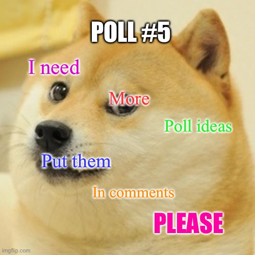 Doge |  POLL #5; I need; More; Poll ideas; Put them; In comments; PLEASE | image tagged in memes,doge | made w/ Imgflip meme maker