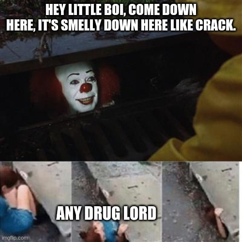 Real Drug lords |  HEY LITTLE BOI, COME DOWN HERE, IT'S SMELLY DOWN HERE LIKE CRACK. ANY DRUG LORD | image tagged in pennywise in sewer,memes,funny,pennywise the dancing clown | made w/ Imgflip meme maker