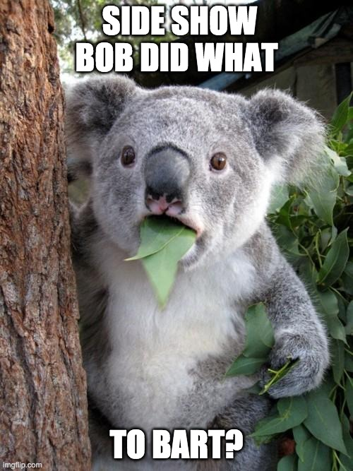 Surprised Koala |  SIDE SHOW BOB DID WHAT; TO BART? | image tagged in memes,surprised koala | made w/ Imgflip meme maker