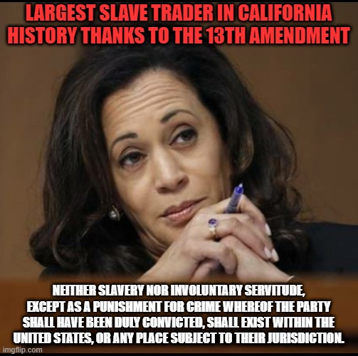 Kamala the Slave Trader |  LARGEST SLAVE TRADER IN CALIFORNIA HISTORY THANKS TO THE 13TH AMENDMENT; NEITHER SLAVERY NOR INVOLUNTARY SERVITUDE, EXCEPT AS A PUNISHMENT FOR CRIME WHEREOF THE PARTY SHALL HAVE BEEN DULY CONVICTED, SHALL EXIST WITHIN THE UNITED STATES, OR ANY PLACE SUBJECT TO THEIR JURISDICTION. | image tagged in kamala harris | made w/ Imgflip meme maker