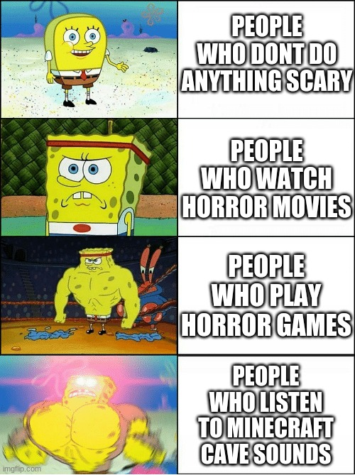 I watch other people play horror games. I wonder where that puts me? |  PEOPLE WHO DONT DO ANYTHING SCARY; PEOPLE WHO WATCH HORROR MOVIES; PEOPLE WHO PLAY HORROR GAMES; PEOPLE WHO LISTEN TO MINECRAFT CAVE SOUNDS | image tagged in sponge finna commit muder | made w/ Imgflip meme maker