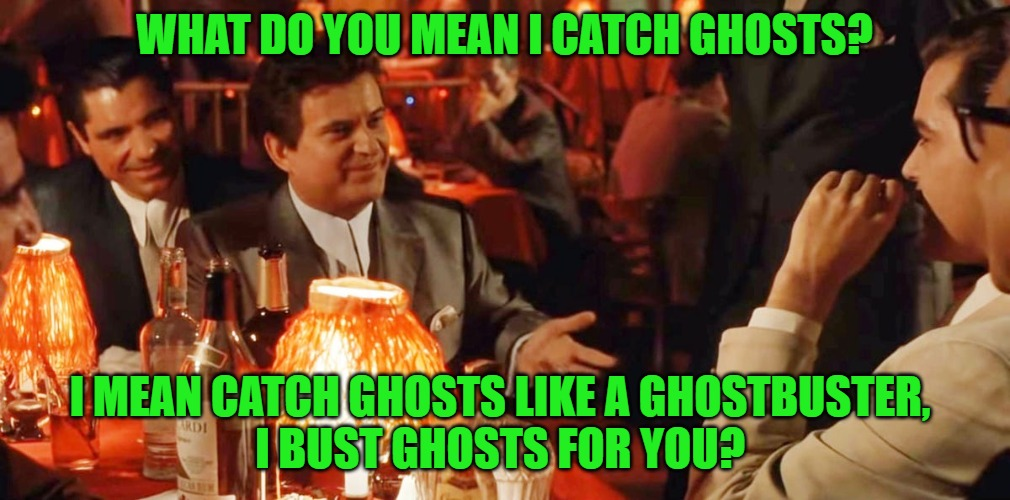Pesci Ghostbuster |  WHAT DO YOU MEAN I CATCH GHOSTS? I MEAN CATCH GHOSTS LIKE A GHOSTBUSTER,  I BUST GHOSTS FOR YOU? | image tagged in ghostbusters,joe pesci | made w/ Imgflip meme maker