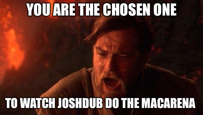 You Were The Chosen One (Star Wars) |  YOU ARE THE CHOSEN ONE; TO WATCH JOSHDUB DO THE MACARENA | image tagged in memes,you were the chosen one star wars | made w/ Imgflip meme maker