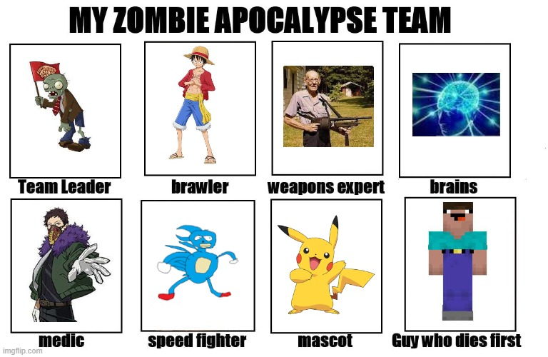 My Zombie Apocalypse Team | image tagged in my zombie apocalypse team,luffy,pikachu,sanic,old man,noob | made w/ Imgflip meme maker