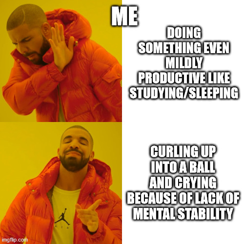 Drake Hotline Bling |  ME; DOING SOMETHING EVEN MILDLY PRODUCTIVE LIKE STUDYING/SLEEPING; CURLING UP INTO A BALL AND CRYING BECAUSE OF LACK OF MENTAL STABILITY | image tagged in memes,drake hotline bling | made w/ Imgflip meme maker