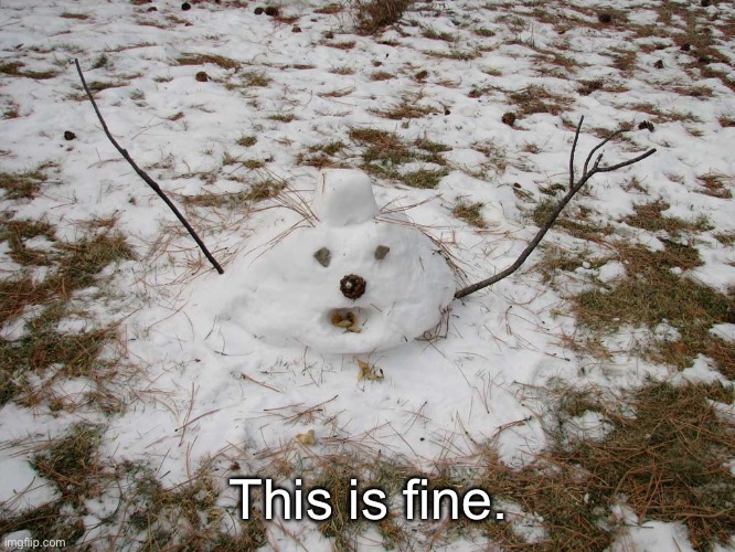 Melted Snowman | This is fine. | image tagged in melted snowman | made w/ Imgflip meme maker