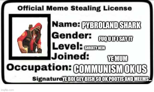 meem stel liscence cause i need to have t cause yeah and couldnt send to fun so plz add in |  PYBROLAND SHARK; FUQ U IF I SAY IT; SHRIXTY NEIN; YE MUM; COMMUNISM OK US; YE BOI GEY BISH SO OK POOTIS AND MEEMS... | image tagged in official meme stealing license | made w/ Imgflip meme maker