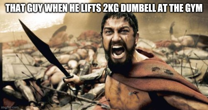 Sparta Leonidas |  THAT GUY WHEN HE LIFTS 2KG DUMBELL AT THE GYM | image tagged in memes,sparta leonidas | made w/ Imgflip meme maker