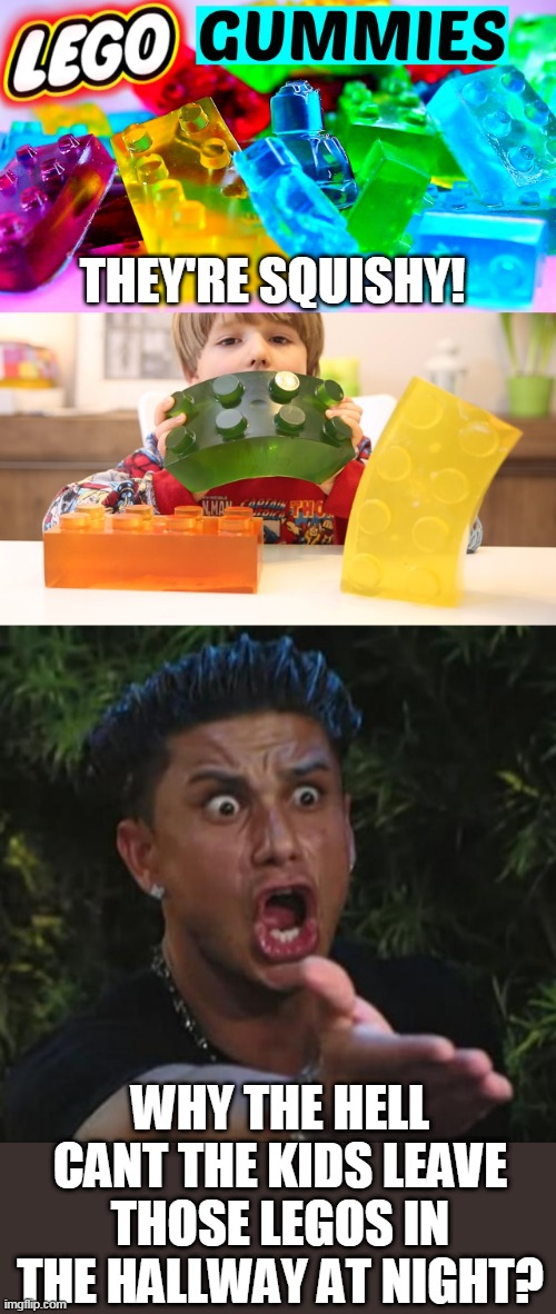 THOSE WOULD BE NICE TO STEP ON |  THEY'RE SQUISHY! WHY THE HELL CANT THE KIDS LEAVE THOSE LEGOS IN THE HALLWAY AT NIGHT? | image tagged in memes,dj pauly d,legos,stepping on a lego | made w/ Imgflip meme maker
