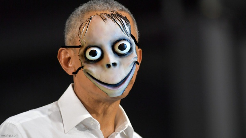 BARACK OBAMA SPOTTED COMPLYING WITH FACE MASK ORDER. | image tagged in barack obama,momo,face mask | made w/ Imgflip meme maker