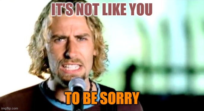 Nickleback | IT'S NOT LIKE YOU TO BE SORRY | image tagged in nickleback | made w/ Imgflip meme maker