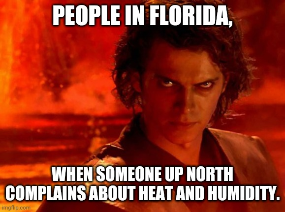 Florida Is Hotter and More Humid, so Stop Complaining |  PEOPLE IN FLORIDA, WHEN SOMEONE UP NORTH COMPLAINS ABOUT HEAT AND HUMIDITY. | image tagged in memes,you underestimate my power,meanwhile in florida,florida | made w/ Imgflip meme maker