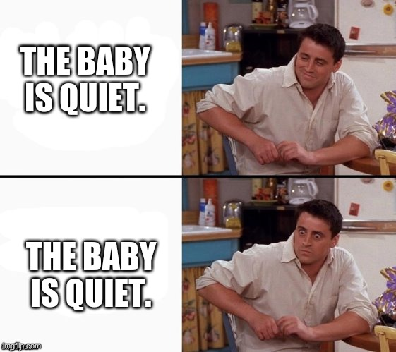Comprehending Joey |  THE BABY IS QUIET. THE BABY IS QUIET. | image tagged in comprehending joey | made w/ Imgflip meme maker
