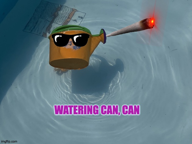 a little can can |  WATERING CAN, CAN | image tagged in water can swimming | made w/ Imgflip meme maker