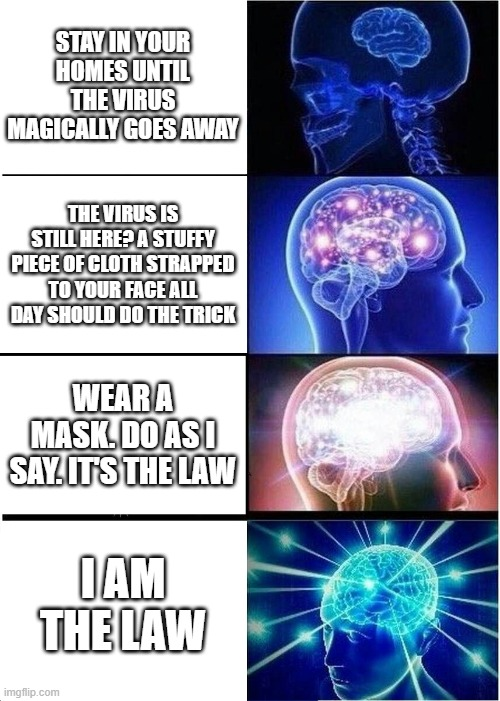 I found Governor Northam's neuroimaging |  STAY IN YOUR HOMES UNTIL THE VIRUS MAGICALLY GOES AWAY; THE VIRUS IS STILL HERE? A STUFFY PIECE OF CLOTH STRAPPED TO YOUR FACE ALL DAY SHOULD DO THE TRICK; WEAR A MASK. DO AS I SAY. IT'S THE LAW; I AM THE LAW | image tagged in memes,expanding brain | made w/ Imgflip meme maker