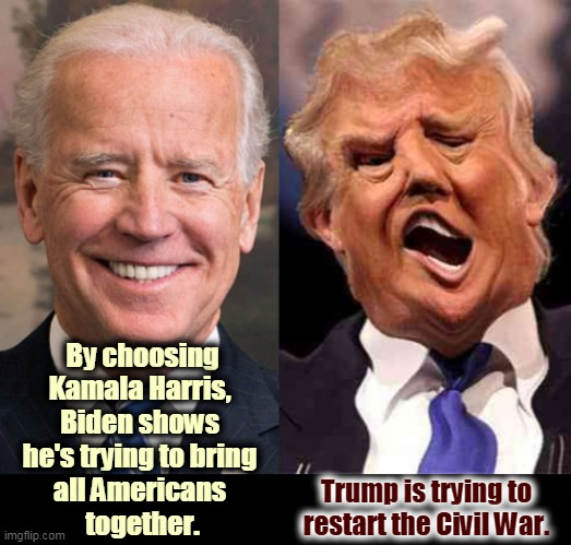 Wouldn't it be nice if we could all live in the same country again? |  By choosing Kamala Harris,  Biden shows  he's trying to bring  all Americans  together. Trump is trying to restart the Civil War. | image tagged in joe biden together donald trump coming apart,biden,healing,trump,division,incompetence | made w/ Imgflip meme maker