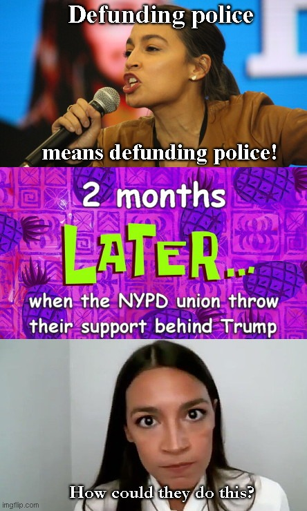 AOC surprised by NYPD union decision |  Defunding police; means defunding police! How could they do this? | image tagged in aoc surprised by nypd union decision,alexandria ocasio-cortez,call to defund police,idiot,nypd,donald trump,ConservativeMemes | made w/ Imgflip meme maker