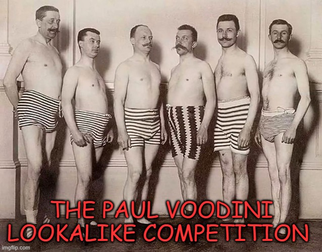 Voodini Lookalike |  THE PAUL VOODINI LOOKALIKE COMPETITION | image tagged in moustache voodinini | made w/ Imgflip meme maker