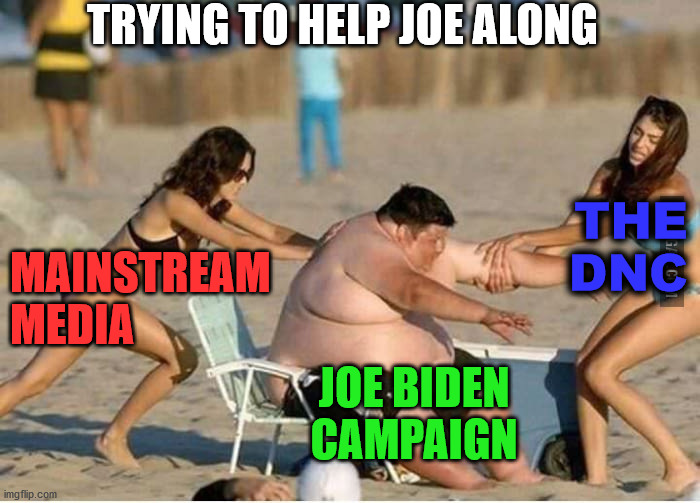 Try pushing him across the finish line. |  TRYING TO HELP JOE ALONG; THE DNC; MAINSTREAM MEDIA; JOE BIDEN CAMPAIGN | image tagged in greenpeace rescue,joe biden,political meme | made w/ Imgflip meme maker