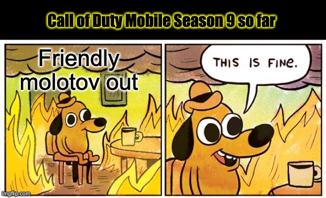 molotov |  Call of Duty Mobile Season 9 so far; Friendly molotov out | image tagged in memes,this is fine,gaming,callofduty,callofdutymobile | made w/ Imgflip meme maker