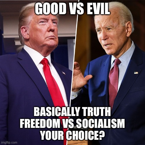 Trump/Biden |  GOOD VS EVIL; BASICALLY TRUTH FREEDOM VS SOCIALISM YOUR CHOICE? | image tagged in trump biden | made w/ Imgflip meme maker