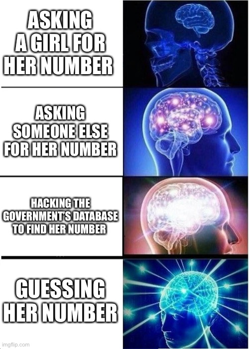 Expanding Brain |  ASKING A GIRL FOR HER NUMBER; ASKING SOMEONE ELSE FOR HER NUMBER; HACKING THE GOVERNMENT'S DATABASE TO FIND HER NUMBER; GUESSING HER NUMBER | image tagged in memes,expanding brain | made w/ Imgflip meme maker