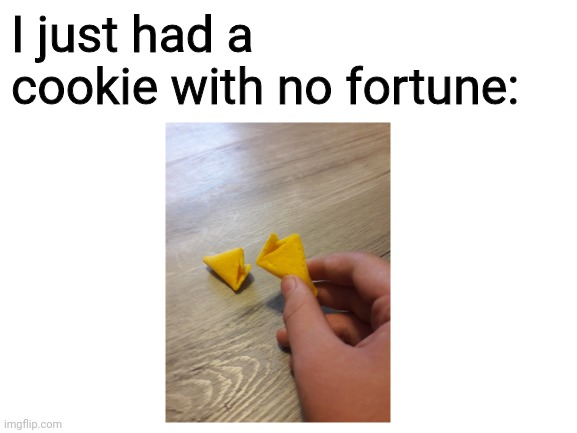 A Fortune Cookie With No Fortune Guess It S Just A Stale Chinese Cookie Now Imgflip