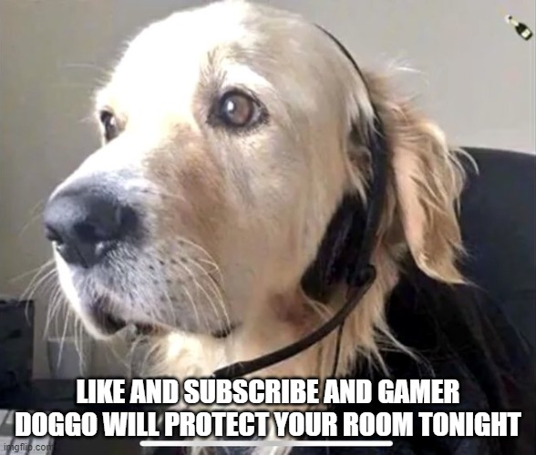 Gamer Doge |  LIKE AND SUBSCRIBE AND GAMER DOGGO WILL PROTECT YOUR ROOM TONIGHT | image tagged in doge,gamer | made w/ Imgflip meme maker