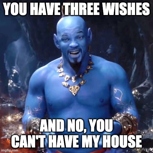 Aladdin three wishes |  YOU HAVE THREE WISHES; AND NO, YOU CAN'T HAVE MY HOUSE | image tagged in aladdin | made w/ Imgflip meme maker