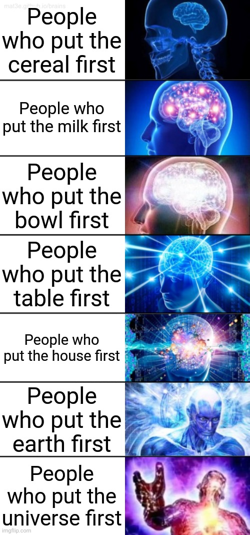 Yeah this is big brain time |  People who put the cereal first; People who put the milk first; People who put the bowl first; People who put the table first; People who put the house first; People who put the earth first; People who put the universe first | image tagged in 7-tier expanding brain,cereal,memes,funny | made w/ Imgflip meme maker