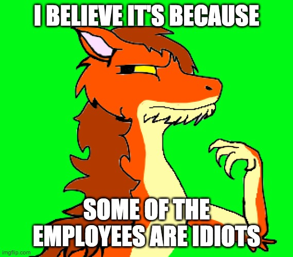 I BELIEVE IT'S BECAUSE SOME OF THE EMPLOYEES ARE IDIOTS | image tagged in compromising dragon | made w/ Imgflip meme maker