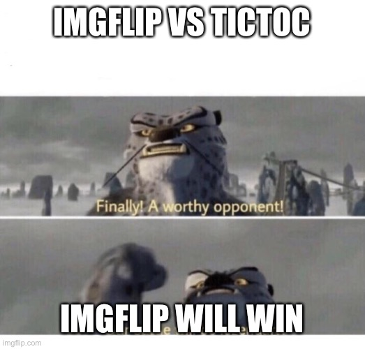 Our Battle will be Legendary! |  IMGFLIP VS TICTOC; IMGFLIP WILL WIN | image tagged in our battle will be legendary | made w/ Imgflip meme maker
