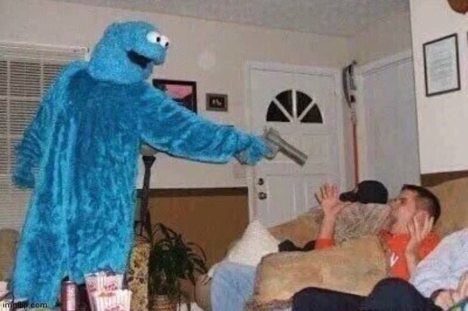 Cursed Cookie Monster | image tagged in cursed cookie monster | made w/ Imgflip meme maker