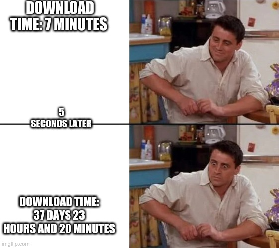 #relatable |  DOWNLOAD TIME: 7 MINUTES; 5 SECONDS LATER; DOWNLOAD TIME: 37 DAYS 23 HOURS AND 20 MINUTES | image tagged in surprised joey | made w/ Imgflip meme maker
