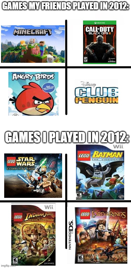 yeetn't |  GAMES MY FRIENDS PLAYED IN 2012:; GAMES I PLAYED IN 2012: | image tagged in memes,lego star wars,lego,funny,dank,2012 | made w/ Imgflip meme maker