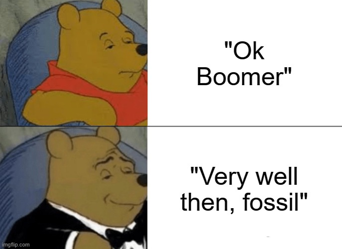 "Tuxedo Winnie The Pooh Meme |  ""Ok Boomer""; ""Very well then, fossil"" 