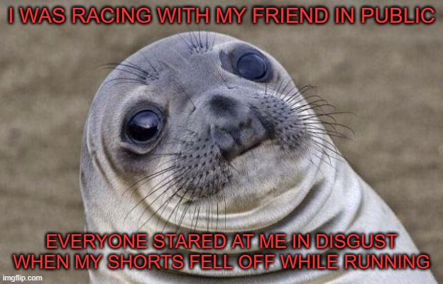 Awkward Moment Sealion |  I WAS RACING WITH MY FRIEND IN PUBLIC; EVERYONE STARED AT ME IN DISGUST WHEN MY SHORTS FELL OFF WHILE RUNNING | image tagged in memes,awkward moment sealion | made w/ Imgflip meme maker
