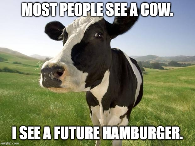 Future Hamburger |  MOST PEOPLE SEE A COW. I SEE A FUTURE HAMBURGER. | image tagged in cow,hamburger | made w/ Imgflip meme maker