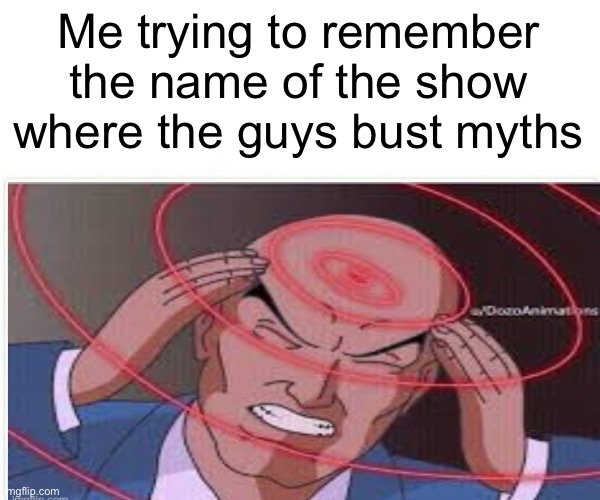 Who ya gonna call, myth busters |  Me trying to remember the name of the show where the guys bust myths | image tagged in mythbusters,professor x | made w/ Imgflip meme maker