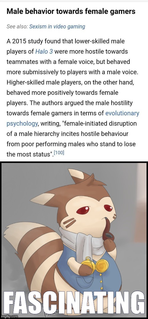 Tl;dr — sexism is an adaptive psychological reaction by socially insecure males? Big if true | image tagged in sexism,sexist,video games,videogames,incel,cringe | made w/ Imgflip meme maker
