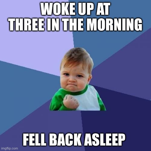 Success Kid |  WOKE UP AT THREE IN THE MORNING; FELL BACK ASLEEP | image tagged in memes,success kid | made w/ Imgflip meme maker