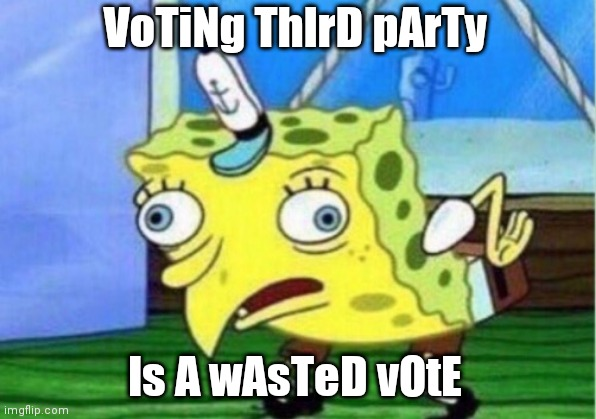 3rd Party |  VoTiNg ThIrD pArTy; Is A wAsTeD vOtE | image tagged in memes,mocking spongebob | made w/ Imgflip meme maker