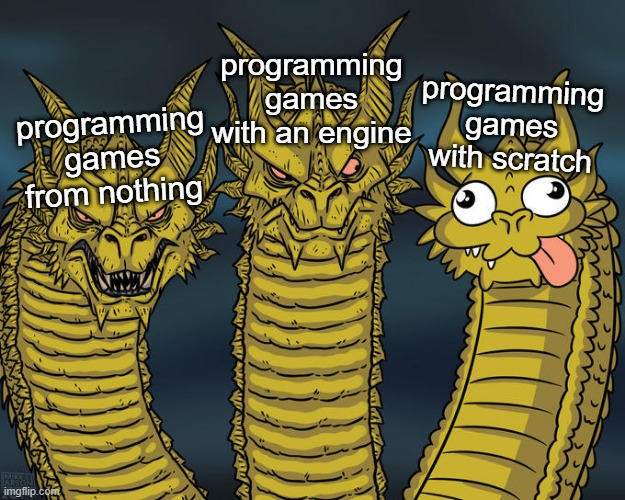 Three-method Progragon |  programming games with an engine; programming games with scratch; programming games from nothing | image tagged in three-headed dragon,programming,video games,scratch | made w/ Imgflip meme maker