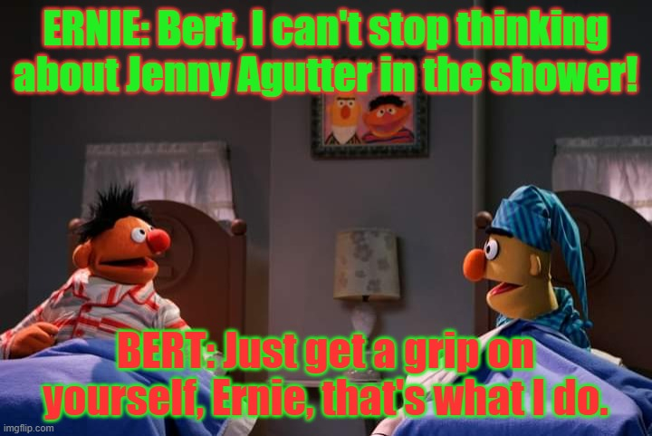 Sesame Werewolf Shower |  ERNIE: Bert, I can't stop thinking about Jenny Agutter in the shower! BERT: Just get a grip on yourself, Ernie, that's what I do. | image tagged in american werewolf in london,jenny agutter,bert and ernie | made w/ Imgflip meme maker