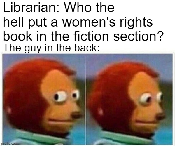 Oops |  Librarian: Who the hell put a women's rights book in the fiction section? The guy in the back: | image tagged in memes,monkey puppet,women's rights,fiction,pie charts,gifs | made w/ Imgflip meme maker